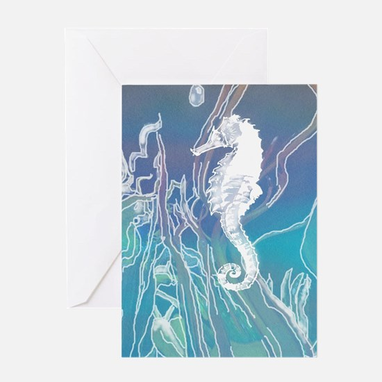 White and Blue Seahorse Greeting Cards