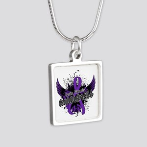 Cystic Fibrosis Awareness Silver Square Necklace