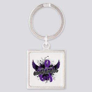 Cystic Fibrosis Awareness 16 Square Keychain