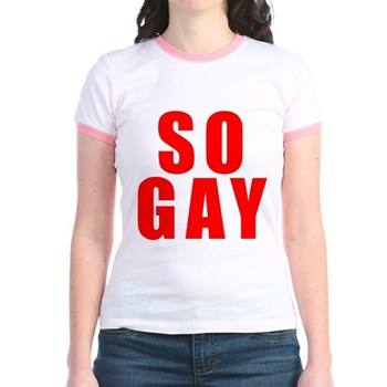 Red So Gay Jr. Ringer T-Shirt