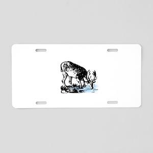 Elk in Stream Aluminum License Plate