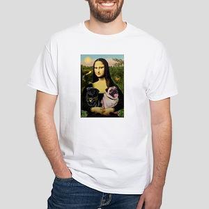 Mona's 2 Pugs White T-Shirt