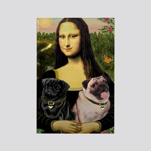 Mona's 2 Pugs Rectangle Magnet