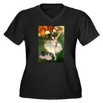 Dancer / 2 Pugs Women's Plus Size V-Neck Dark T-Sh
