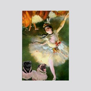Dancer / 2 Pugs Rectangle Magnet