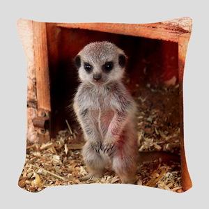 Baby Meerkat Woven Throw Pillow