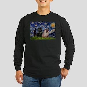 Starry Night / 2 Pugs Long Sleeve Dark T-Shirt