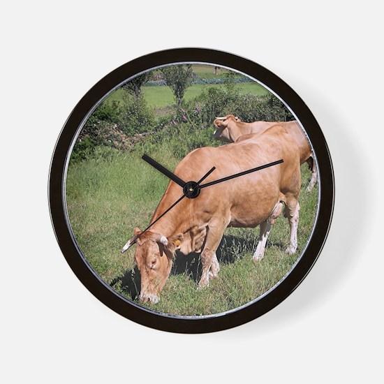 Cows in field on El Camino, Spain Wall Clock