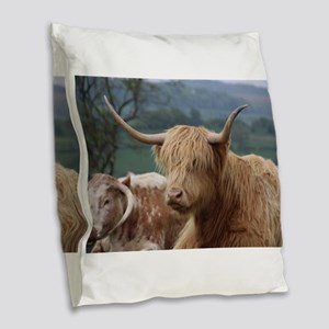 Highland cattle Burlap Throw Pillow