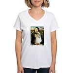 Mona & her Borzoi Women's V-Neck T-Shirt