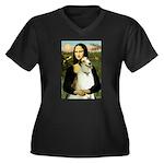 Mona & her Borzoi Women's Plus Size V-Neck Dark T-