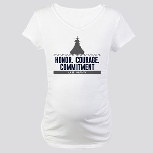 Navy Honor Courage Commitment Maternity T-Shirt