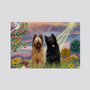 Cloud Angel & Briard Pair Rectangle Magnet