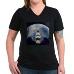 Earth and the space shuttle Women's V-Neck Dark T-