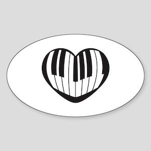 I_Heart_Piano Sticker (Oval)