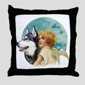 Malamute w/Angel Throw Pillow