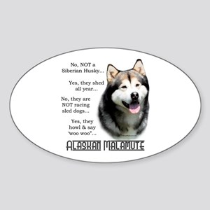 Malamute FAQ Oval Sticker