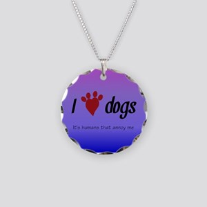 I Heart Dogs Necklace Circle Charm
