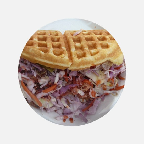 """pulled pork waffle with col 3.5"""" Button (100 pack)"""
