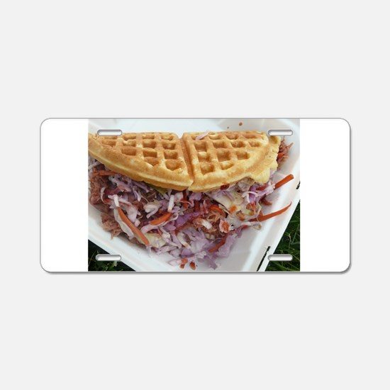 pulled pork waffle with col Aluminum License Plate