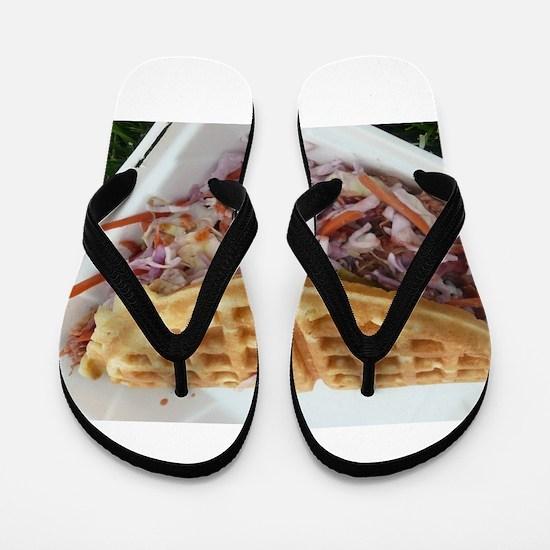 pulled pork waffle with coleslaw Flip Flops