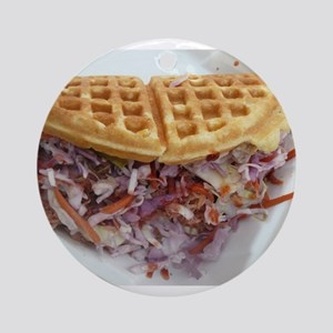 pulled pork waffle with coleslaw Round Ornament