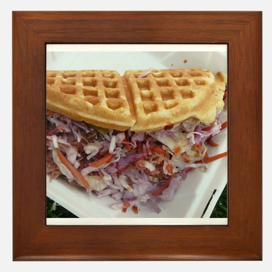 pulled pork waffle with coleslaw Framed Tile