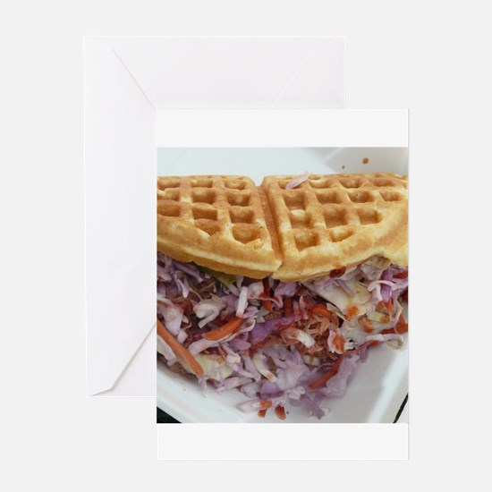 pulled pork waffle with coleslaw Greeting Cards