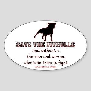 Save The Pit bulls Oval Sticker