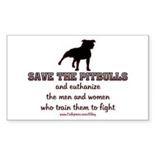 Save The Pit bulls Rectangle Sticker