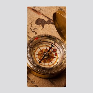 Vintage Compass On Old Paper Beach Towel