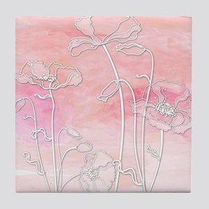 Watercolor Pink and Coral Poppies Tile Coaster