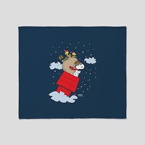 Flying Ace Santa Full Bleed Throw Blanket
