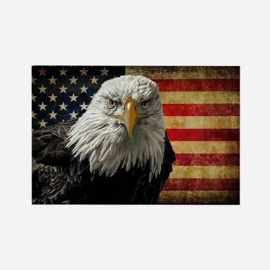 Bald Eagle and Flag Rectangle Magnet