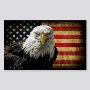 Bald Eagle and Flag Sticker (Rectangle)