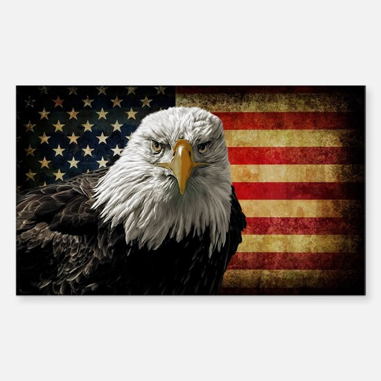 Bald Eagle and Flag Sticker (Rectangle)