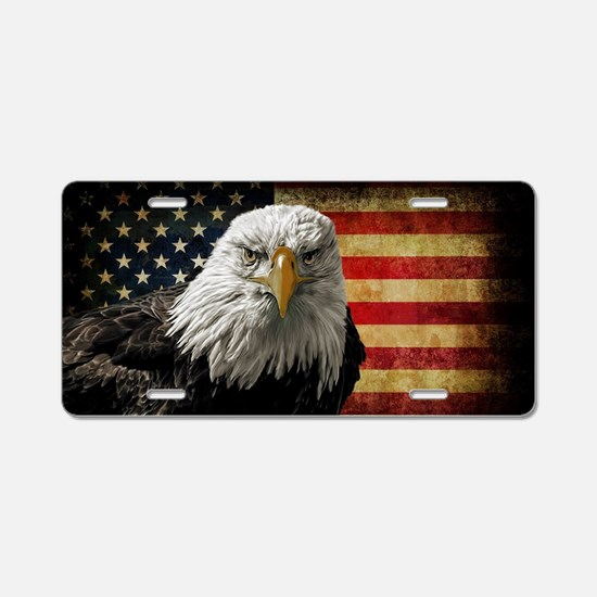Bald Eagle and Flag Aluminum License Plate