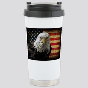 Bald Eagle and Flag Stainless Steel Travel Mug
