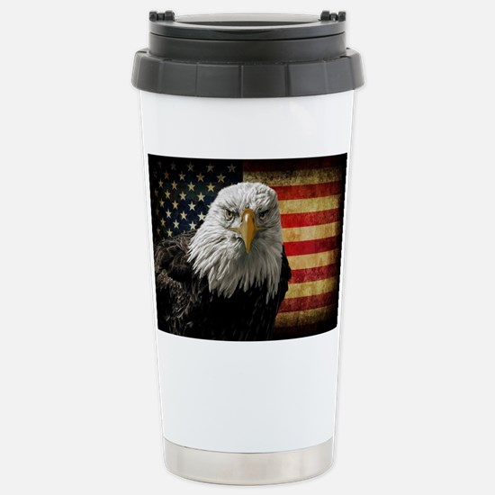 Bald Eagle and Flag Stainless Steel Travel Mug