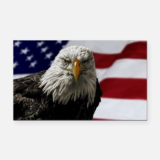 Bald Eagle and Flag Rectangle Car Magnet