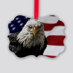 Bald Eagle and Flag Picture Ornament