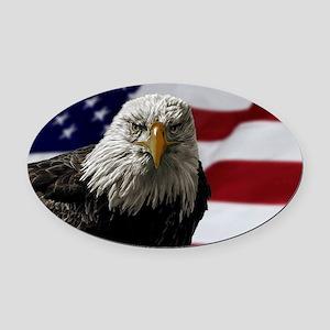 Bald Eagle and Flag Oval Car Magnet