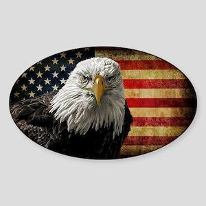Bald Eagle and Flag Sticker (Oval)