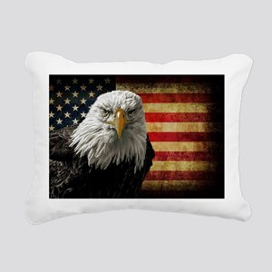 Bald Eagle and Flag Rectangular Canvas Pillow