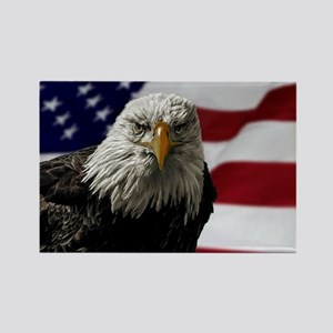 Bald Eagle and Flag Rectangle Magnet