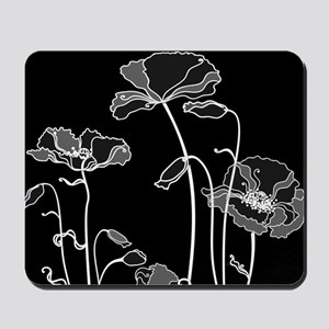 Black and White Poppies Mousepad