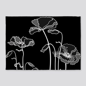 Black and White Poppies 5'x7'Area Rug