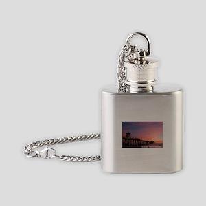 Huntington Beach, California Pier Flask Necklace
