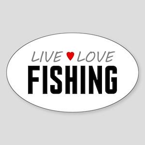 Live Love Fishing Oval Sticker