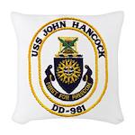 USS JOHN HANCOCK Woven Throw Pillow
